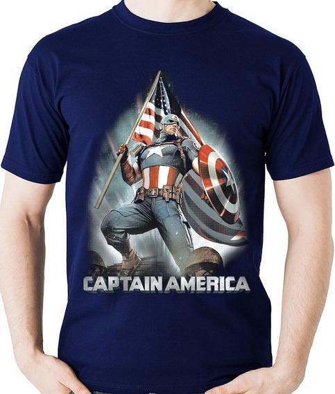 Camiseta Capitão América Heroi Vingadores Camisa Blusa