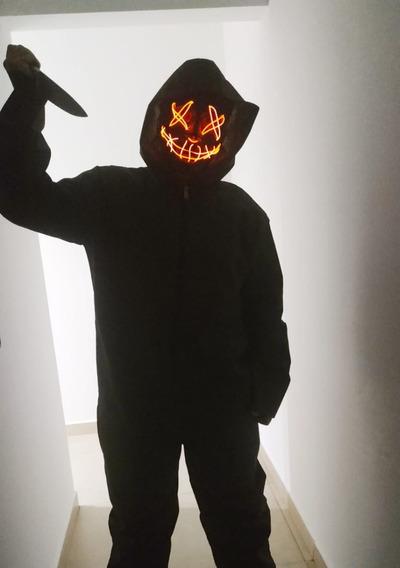 Disfraz La Purga + Mascara Plastico Con Luz Led Halloween