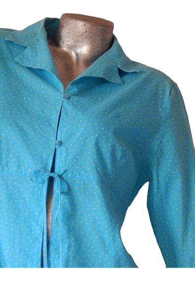 Camisa Manga 3/4 Turquesa Con Lunares Amarillos- Zara Basic-