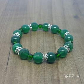 Pulseira Feminina Pedra Natural Ágata Verde E Cristal