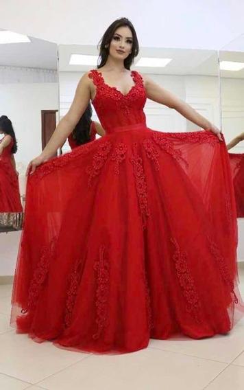 Vestido Longo Vermelho Para Festa (nunca Usado)