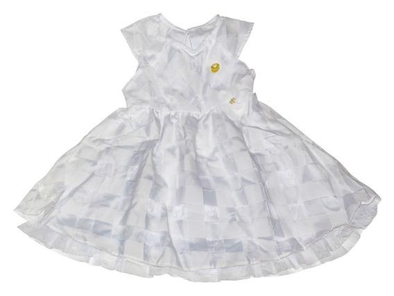 Vestido Para Festa Infantil Milon Branco Tamanho 3