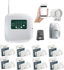 Kit Central De Alarme Gsm Com Aplicativo+9 Sensores+sirene