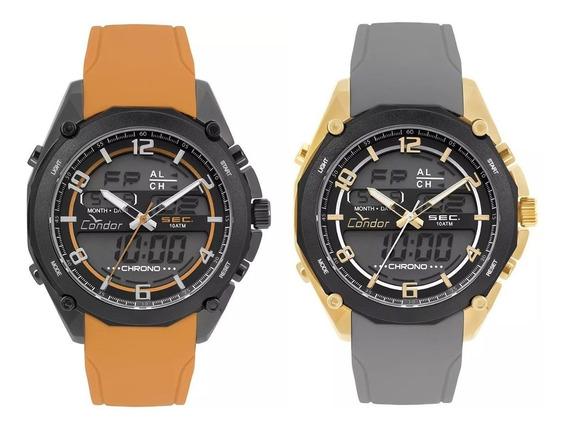 Kit 02 Relógios Masculinos Condor Originais Laranja + Cinza