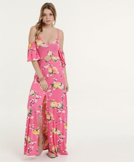 Vestido Feminino Longo Open Shoulder Estampa Floral Marisa