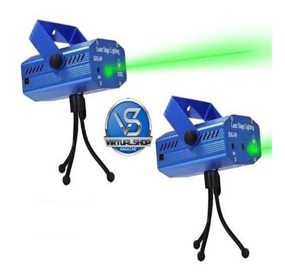 Kit 2 Projetor Holográfico Canhão Laser Efeitos Strobo Festa