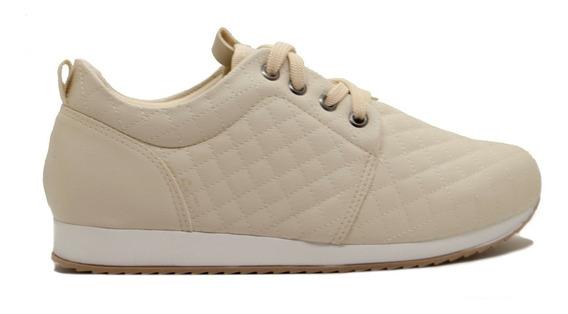 Zapatillas Mujer Cuero Ecológico Matelaseada Marfil Ms