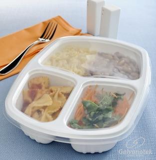 Embalagem Plastico C/ 3 Divisórias E Tampa 1150ml - 100 Unds