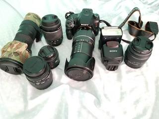 Cámara Sony A65, 6 Lentes, Flash, Tripie. No Nikon O Canon