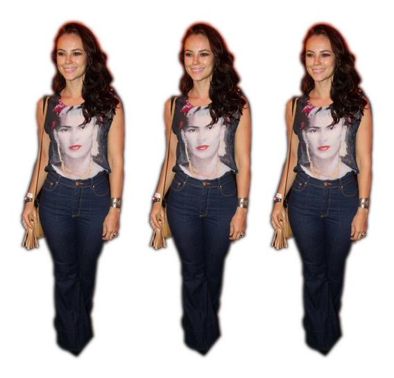 Calça Jeans Feminina Flare Skinny Cintura Alta + Brinde