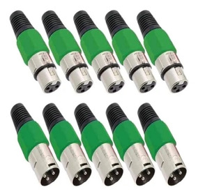 Kit 20 Plug Conector Xlr Cannon Macho Femea Corpo Plast M.e