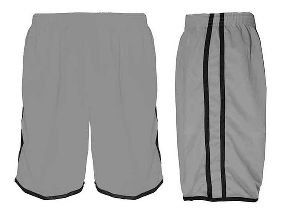 Calção Futebol Futsal Musculação-lotus-cinza/preto-- Adulto