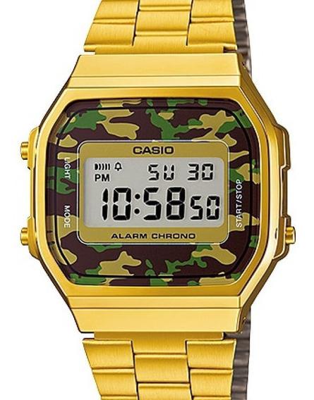 Relógio Casio Unissex Vintage Dourado Camuflado A168wegc-3df