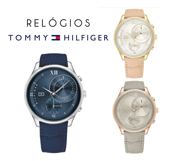 Relógio Tommy Hilfiger Feminino Couro (cinza, Bege E Azul)