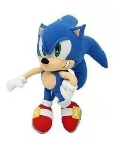 Boneco De Pelúcia Sonic Azul Com 35 Cm E Antialérgico