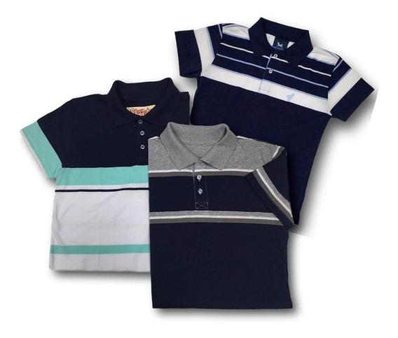 Kit Camisa Polo Infantil E Juvenil Menino Com 3 Peças 291k