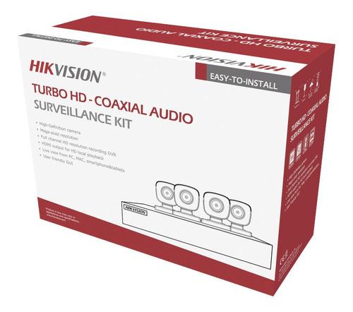 Imagen 1 de 2 de Kit Cctv 4 Cámaras  Hikvision 5 Mpx Turbo Hd Audio/exterior