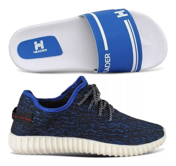 Kit 1 Tenis Masculino Header Yzy Top 2018 + 1 Chinelo