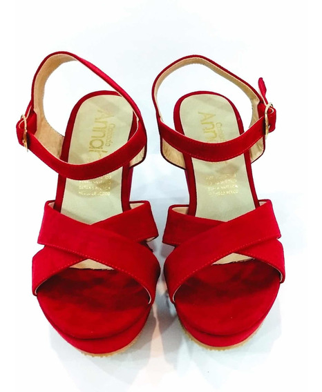 Zapatos Sandalias Rojo Tacón Corrido Moda Dama Zapatillas