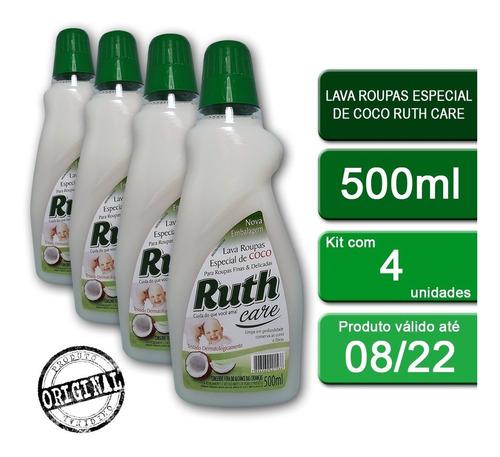 Kit C/4 Lava Roupas Líquido Ruth Care Coco 500ml