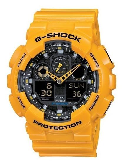 Relógio Casio G-shock Ga-100a-9adr Amarelo Original