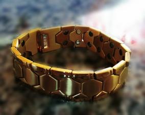 Bracelete Dourado Aço Inoxidável Terapia Magnética.