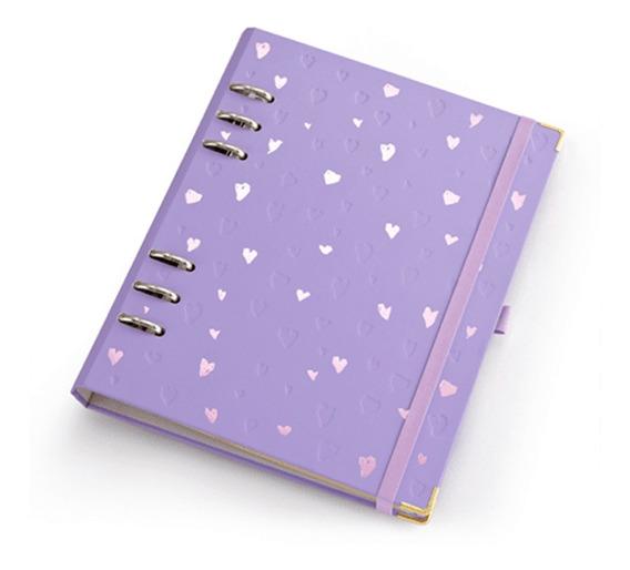 Caderno A5 Com Ferragem Romantic Lilás - Ótima Gráfica