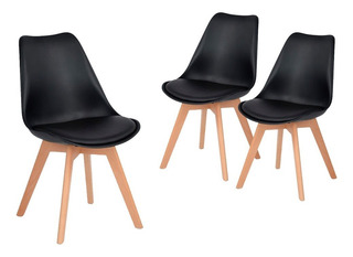 Silla De Comedor Plástico De Diseño Eames Pata Madera - Tulip X 3 Sin Interés