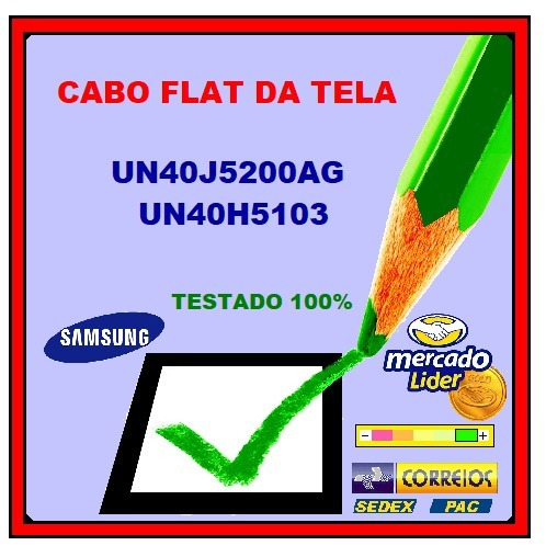 Cabo Flat Da Tela Samsung Un40j5200 Un40h5103