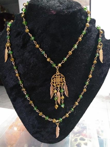 Collar Mandala Esmeralda Dije De Metal