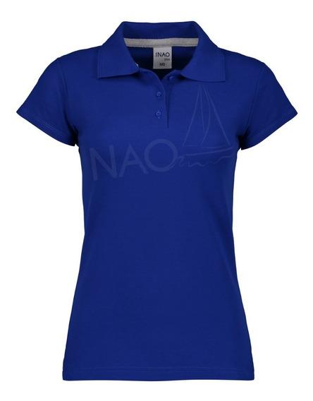 Playera Nao Tipo Polo Premium Azul De Mujer / Bordado