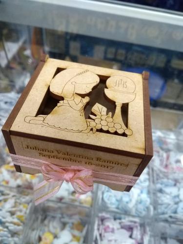 Caja Cajita Recordatorio Madera Personalizado Primera Boda