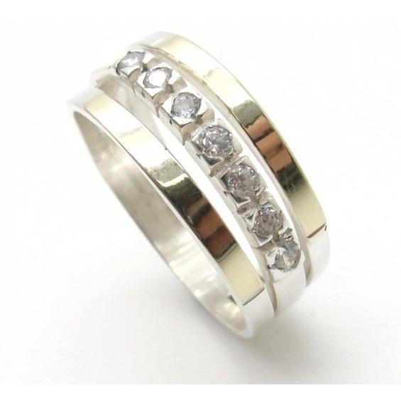 Anel Em Prata 925 E Filete Ouro Com Pedras Zirconias - A1002
