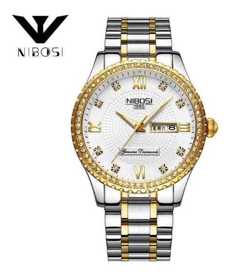 Relógio Pedras Prata E Dourado Nibosi Original Promoção