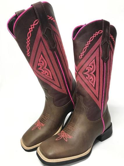 Bota Texana Feminina Country Vimar Marrom Com Bordados Em Rosa Couro Legítimo- Durabilidade Máxima Com Costura Reforçada