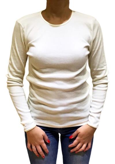 Camiseta Manga Larga Cuello Envivado Raso Talles Grandes
