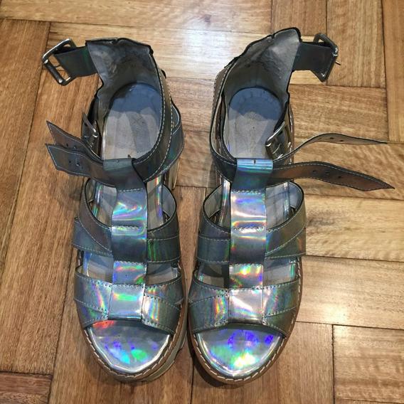 Sandalias Holográficas Con Plataforma