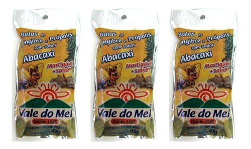 Vale Do Mel Bala Gengibre/ Própolis/ Abacaxi 47g (kit C/03)