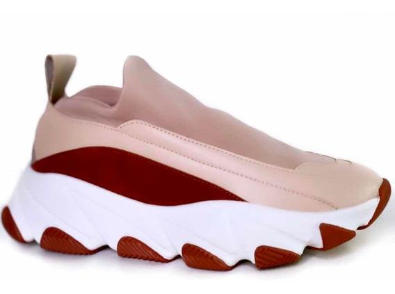 Tênis Casual Chunky Dad Sneaker Alto Flatform Strech Slip On