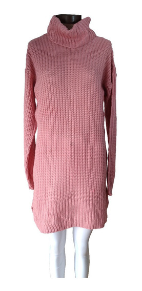 Sweater Poleron Largo Vestido Mujer Polera