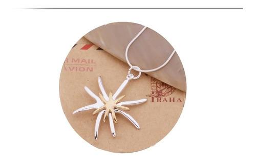 Imagen 1 de 6 de Collar Dije Oro 18k Dama Mujer Elegante Estilo Estrella Lujo