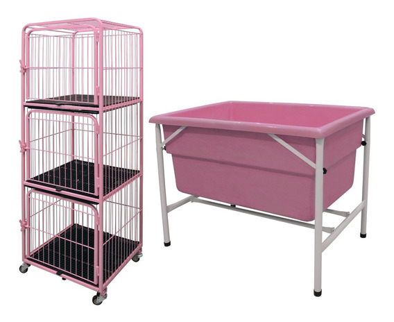 Kit Canil Gaiola 3 Lug.+ Banheira Pet Shop Veterinária Rosa