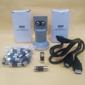 Kit Lnb Duplo+cabo Hdmi+20 Conectores Rg-6 Sistema Antena Ku