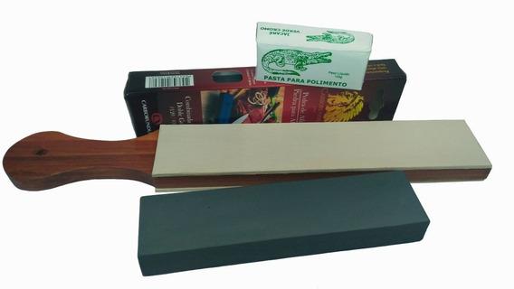Kit Afiar Facas Com Pedra Carborundum + Strop Couro + Pasta