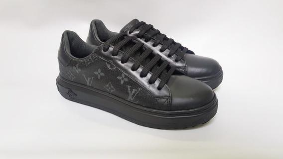 Sapatenis Tênis Sneaker Louis Vuitton Preto Em Couro