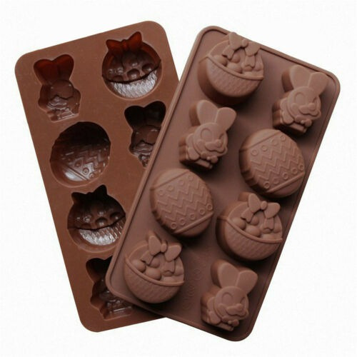 kristy Molde de Huevo de Pascua Molde de Silicona Antiadherente l de Chocolate Utensilios para Hornear Conejito Bandeja de Cubitos de Hielo Herramienta