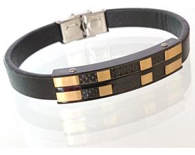 Bracelete Pulseira Masculina Luxo Aço Banhada Ouro 18k