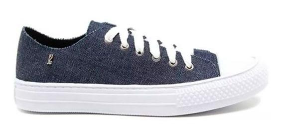 Tênis Santa Lolla Cadarço Jeans Pesponto Azul Unissex Nº 38