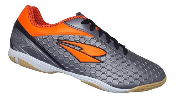Chuteira Futsal Dray Adulto - Cinza E Laranja