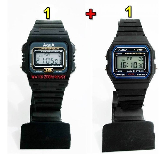 Kit Com 1 Relógio Aqua Aq 37 + 1 Aqua F 91w Atacado!!!